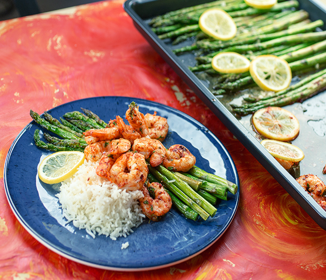 Lemon Garlic Shrimp and Asparagus