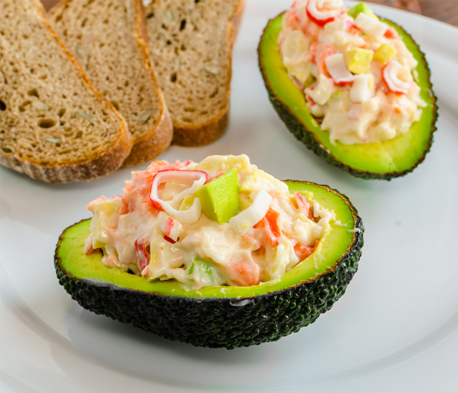 Surimi Salad Over Avocado and Toast