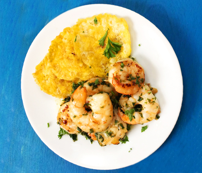 Garlic Shrimp With Tostones