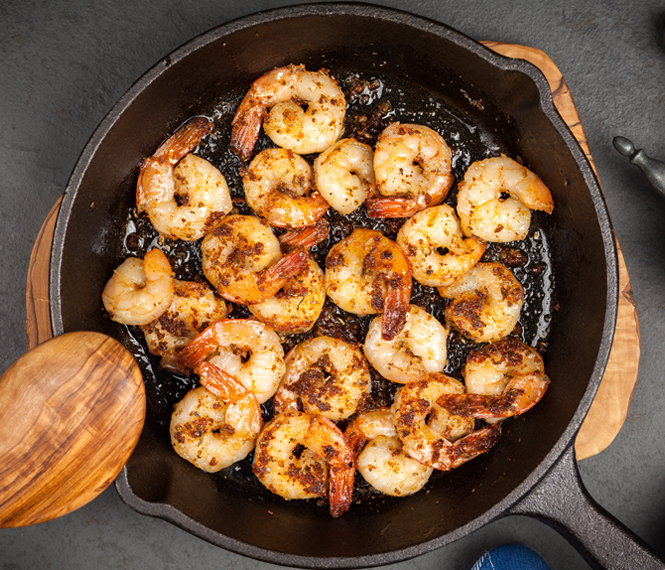 Cast Iron Spicy Sriracha Shrimp