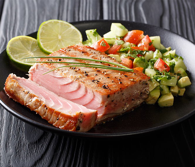 Grilled Tuna with Avocado Cucumber Salsa