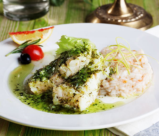 Oven Baked Pollock with Pesto Sauce