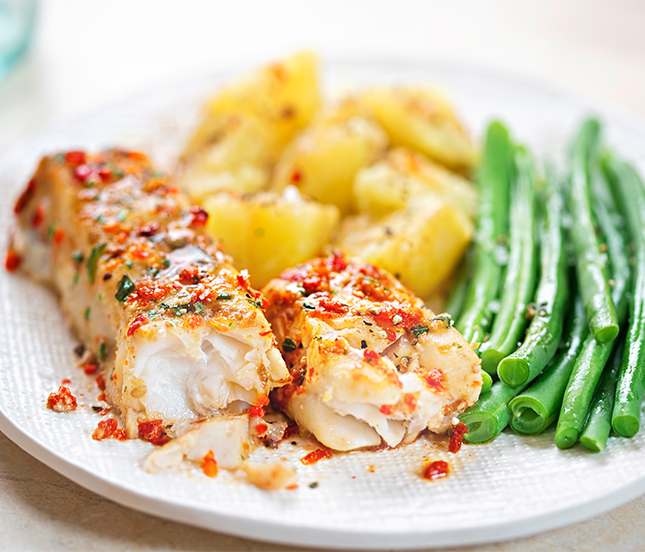 Oven Roasted Cod with Green Beans and Potatoes