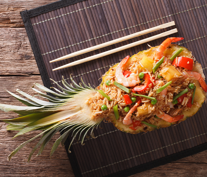Pineapple Boat Fried Rice with Shrimp