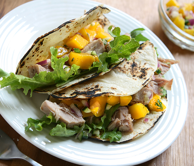 Tuna Tacos with Cucumber and Mango Salsa