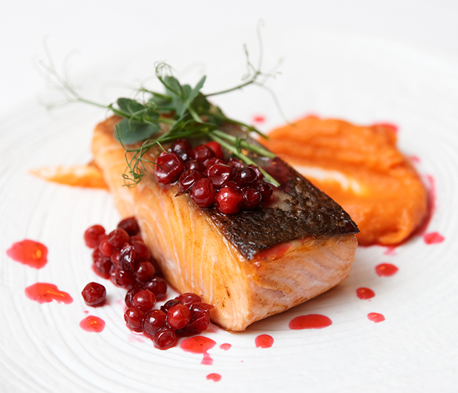 Bourbon Glazed Salmon & Cranberry Sauce
