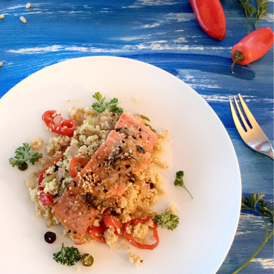 Salmon Fillet and Spicy Moroccan Couscous